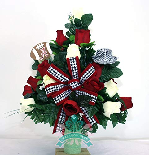 Alabama Crimson Tide Fan Cemetery Vase Arrangement