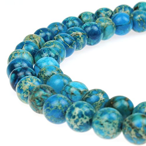 JarTc Natural Stone 6 Colors Sea Sediment Imperial Jasper Round Loose Beads for jewelry Making (12mm, Light blue)