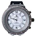 Unisex Men's and Women's Pearl Face Bling Watch Lab Diamonds Adjustable Locking Clip Band Silicone Black