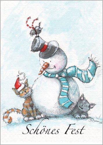 Niedliche Weihnachtskarte mit Schneemann und Katze Unbekannt Im 5er Set die ein sch/önes Fest w/ünschen.