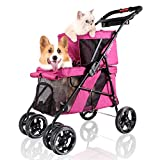 ibiyaya 4 Wheel Double Pet Stroller for Dogs and Cats, Great for Twin or Multiple pet Travel (Red Velvet) Larger Image