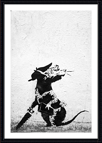 """Alonline Art - Rat With Dollar Eyes And Jigsaw Banksy Black FRAMED POSTER (Print on 100% Cotton CANVAS on foam board) - READY TO HANG 