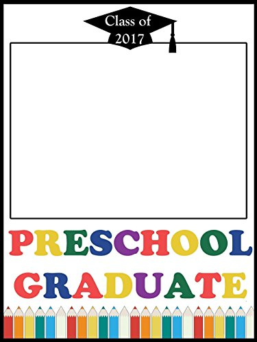 Custom Preschool Graduation Party Photo Booth Frame Prop - Size 36x24, 48x36; Personalized Class of 2018, Kindergarten, First day of school - Handmade DIY Party Supply Photo Booth - Master Glasses Image