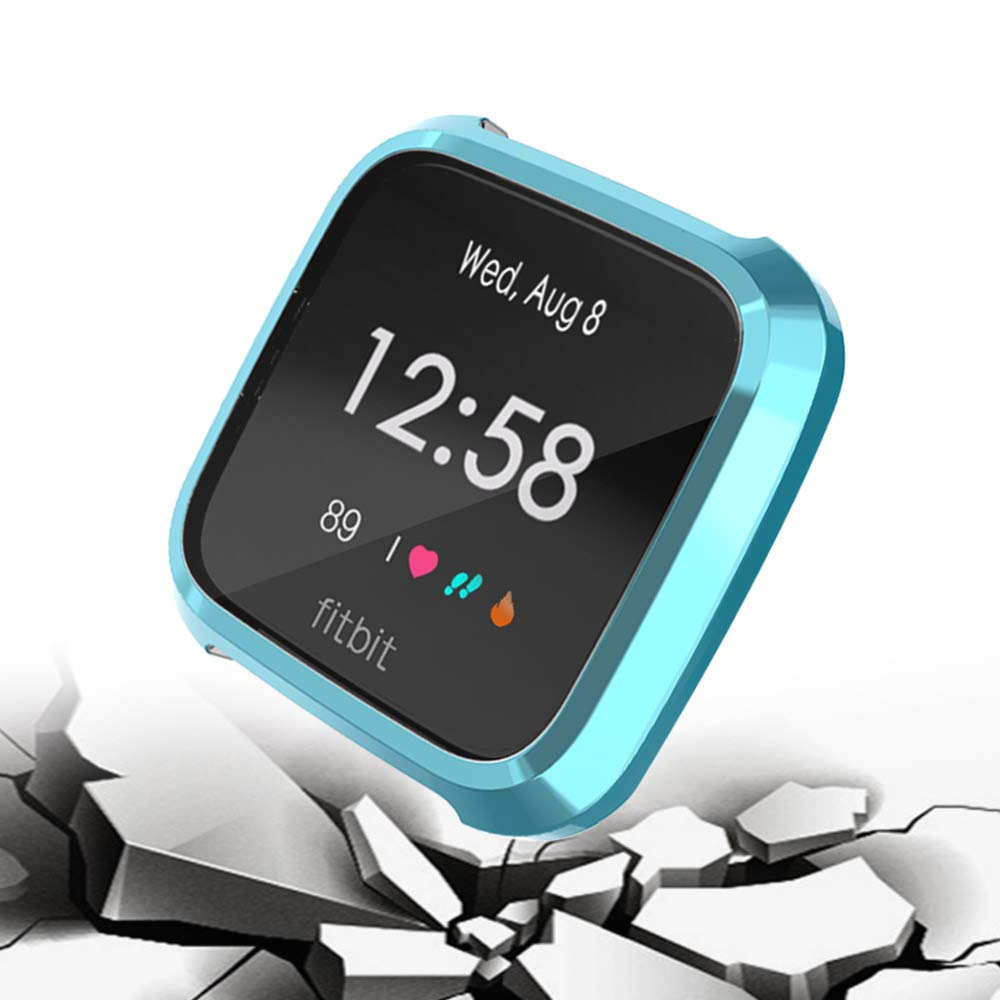 TPU Plated Case All-Around Protective Screen Full Cover Bumper for Fitbit Versa Lite Edition 2019 Only KTcpt for Fitbit Versa Lite Edition Screen Protector Case Black