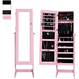 Cloud Mountain Mirrored Jewelry Cabinet Free Standing Lockable Jewelry Armoire Full Length Floor Tilting Jewelry Organizer, 4 Adjustable Angle Organizer Storage, Pink
