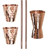 Moscow Mule Copper Accessories - 2 Copper Straws, 2 Copper Shot Glasses and 1 Copper Jigger – Complement Your Bar with This Pure Handmade Copper Set