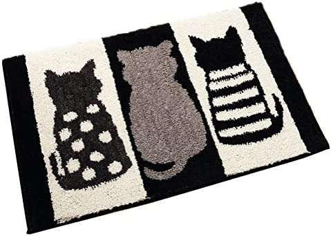 ZebraSmile Cat Bath Room Mat Fun Strong Water Absorption Non Slip Soft Microfiber Entryway Doormat for Shower Room Bathtub Side Rug Restroom Home Indoor Entry Mat with Anti-Slip Back 19.5 X 31.5 in