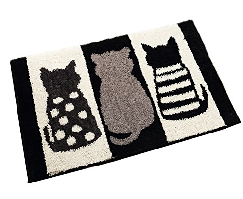 Door Cartoon - ZebraSmile Cartoon Cat Entryway Door Carpet Entryway Door Rug for Restroom Home Entrance Indoor Carpet Entry Doormat Indoor Carpet Bathroom Mat with Anti-Slip Back Office Door Mat 19.5 X 31.5IN