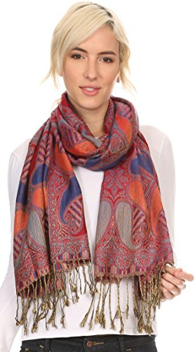 Sakkas 16124 - Raeste Long Wide Tassel Multi Colored Paisley Pashmina Shawl / Wrap - Royal Blue - OS