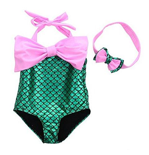 Das beste Little Girls Swimsuits for Girl one Piece Mermaid Princess Toddler Bikini Swim Bathing Suit+Headband -