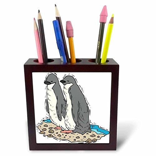 3dRose TDSwhite – Summer Beach Theme - Penguin Couple Sandy Beach - 5 inch Tile Pen Holder (Penguin Tile)
