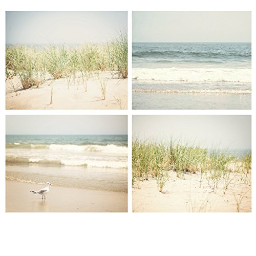(Home decor set of FOUR beach prints, 4 ocean, seagull and beach grass photography, pastel blue and tan and green beach cottage pictures)