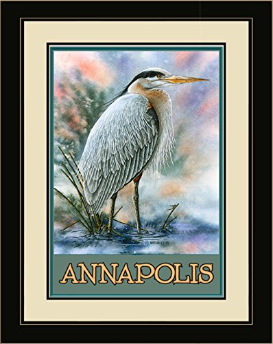 Northwest Art Mall BA-3675 LFGDM GBH Annapolis Great Blue Heron Framed Wall Art by Artist Dave Bartholet, 20 x - Annapolis Mall
