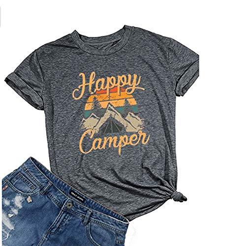 - Deyuanjiagou Women's Happy Graphic Printing Tees Summer Round Neck Short Sleeve T-Shirts Tops Dark Gray