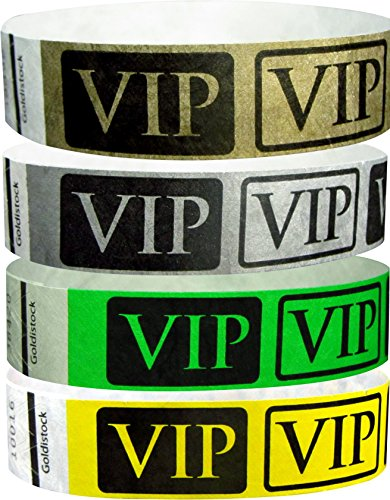 "Goldistock 3/4"" Tyvek Wristbands VIP- 400 Ct. Variety Pack- 100/Color: Metallic Gold & Silver, Neon Green & Yellow"