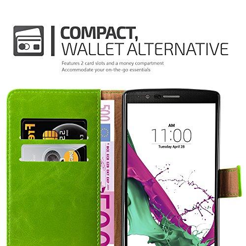 Cadorabo - Funda Estilo Book Lujo para LG G4 con Tarjetero y Función de Suporte - Etui Case Cover Carcasa Caja Protección en ROJO-BURDEOS VERDE-HIERBA