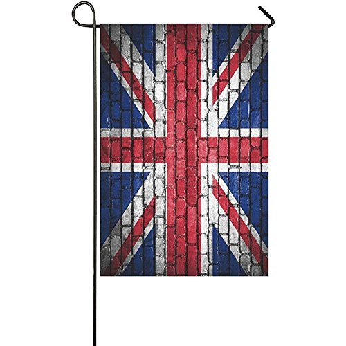 Starowas Brick Wall with Union Jack Garden Flag Banner 12 x