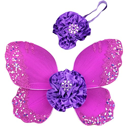 [Jastore® Photo Prop Outfit Baby Girl Flower Angel Wing Costume with Headband (Color 1)] (Baby Angel Wings Costumes)