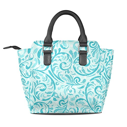 Top Flower Leather Women's TIZORAX Shoulder Bags Handle Teal Snowflake Handbags Winter PU 5nw80q