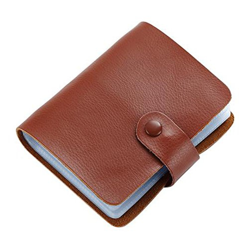 Business Card Holder, Boshiho Genuine Leather Credit Name ID Card Holder Book, Office Journal Business Cards Organizer (Brown)