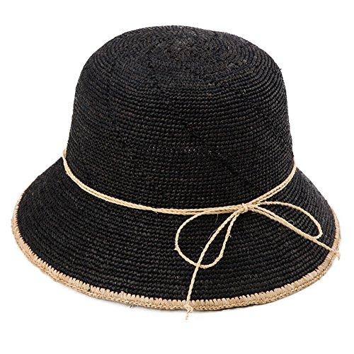 Siggi Ladies 100% Raffia Straw Crochet Hat Foldable UPF Summer Beach Sun Hats 56-58CM Black