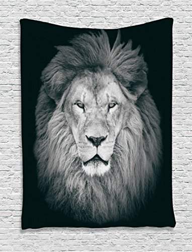 Ambesonne Safari Decor Collection, Portrait of Huge Male African Lion Head with Fire Mane Against Dark Background Image Print, Bedroom Living Room Dorm Wall Hanging Tapestry, Gray Black