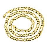"""LoveBling 10K Yellow Gold Solid Figaro Chain Necklace, Available in 2mm to 6.5mm, 16"""" to 30"""""""