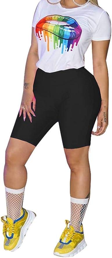 Mcaishen Conjunto De Pantalones Cortos Deportivos De 2 Piezas para Mujer Conjunto De Pantalones Cortos Y Camisa De Manga Corta con Estampado De Labios Europa Y América Verano para Mujeres: Amazon.es: Ropa