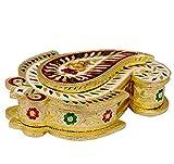 Purpledip Beautiful Paisley Shaped Meenakari Box for 500 gms dry fruits, sweets, chocolates, supari: Diwali gift ideas (10441)