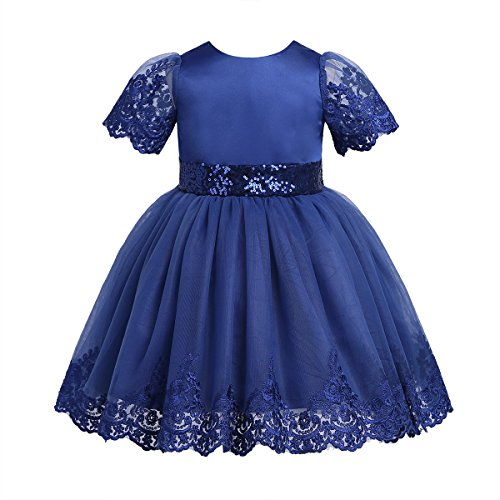 (Agoky Baby Flower Girls Floral Embroidered Christening Baptism Formal Ball Gown Dress Blue Sequined 3-6)