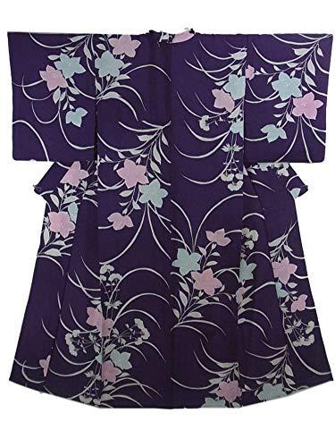 アンティーク 着物 夏物  絽 桔梗と女郎花の模様 裄60.5cm 身丈149cm 正絹