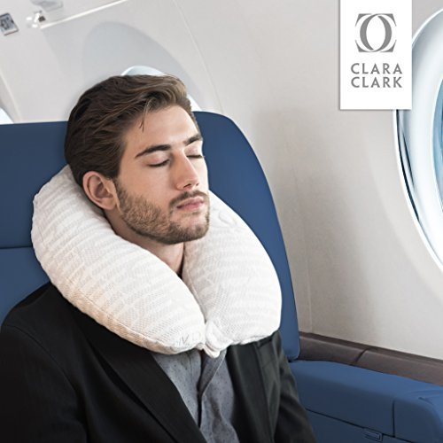 Clara Clark Travel Pillow - Memory Foam Filled Neck Pillow, Washable Rayon Bamboo Cover, Snap Closur