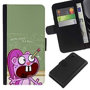 All Phone Most Case / Oferta Especial Cáscara Funda de cuero Monedero Cubierta de proteccion Caso / Wallet Case for Sony Xperia Z3 D6603 // School Cartoon Ugly Pencil Homework