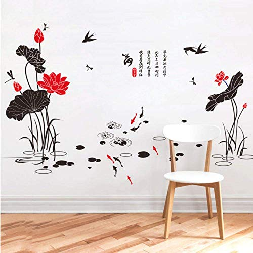 LJLQ Chinese Style Lotus Pond View Self-Adhesive Wall Stickers Lotus Leaf Fish Dragonfly Swallow Living Room Bedroom Waterproof Decal90X60Cm