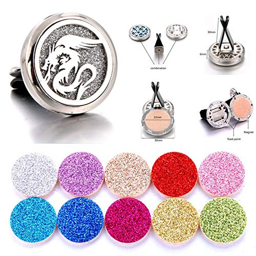Detachable Car Aroma Diffuser   Freshener Stainless Freshener Essential Oil Diffuser   Car Clip   Aromatherapy Locket (I)