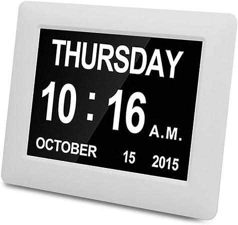 Calendrier num/érique avec Horloge de Jour 8 Pouces avec Affichage Extra-horaire de la Date et de lheure pour Les Personnes /âg/ées avec Perte de m/émoire