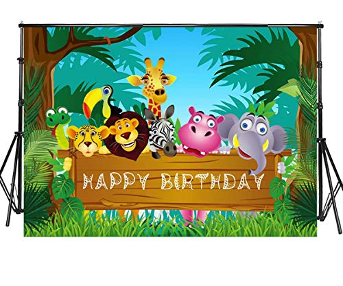 Sensfun 7x5ft Jungle Safari Themed Backdrop Rainforest Woodland Cartoon Zoo Animals Photography Background for Baby Shower First One Birthday Party Dessert Table Decor Banner Photoshoot -