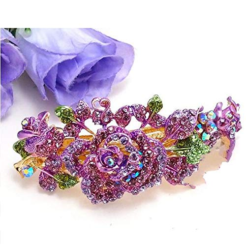 Purple New Rhinestones Crystal Gold Tone Metal Rose flower hair claws clips Barrette #BXNH