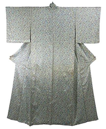 リサイクル 着物  小紋 楓に梅の花 正絹 袷 裄61cm 身丈157cm