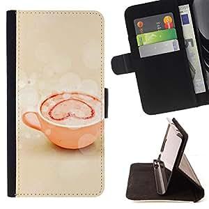 For HTC DESIRE 816 - Love Coffee Love /Funda de piel cubierta de la carpeta Foilo con cierre magn???¡¯????tico/ - Super Marley Shop -