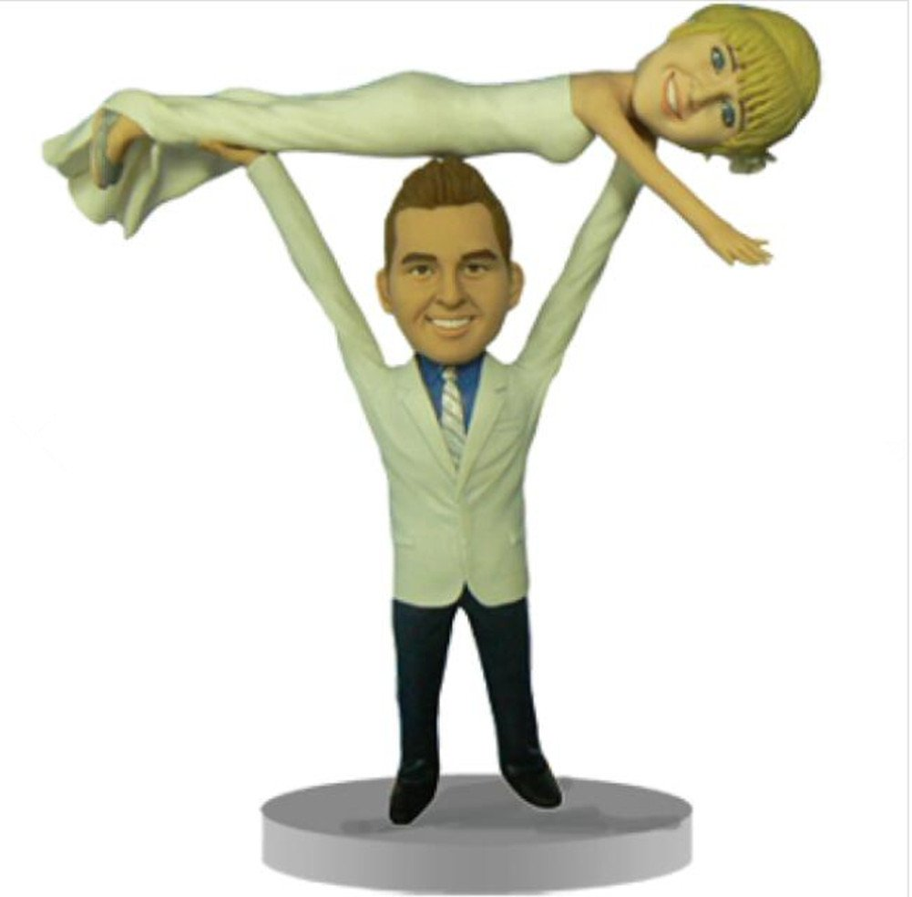 Custom Groom Lifting Bride Wedding Bobbles Polymer Clay Bobbleheads Cake Toppers by MiniBobbleheads