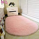 DIDIDD Oval Carpet Floor Mat Household Living Room Coffee Table Bedroom Carpeted Rooms Bedside Rugs Blankets,Pink Short Cashmere,60X160Cm
