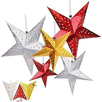 Paper Star Lantern, HotPar Paper Star Lantern with Cord, Paper Star Lantern,  5