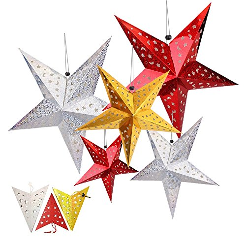 Paper-Star-Lantern-HotPar-Paper-Star-Lantern-with-Cord-Paper-Star-Lantern-5-Hanging-Paper-Star-Decor-Set-for-Baby-Shower-Wedding-Birthday-Holloween-Xmas-Party-Supplies-Home-Decor-Gold-Silver-Red