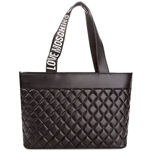 LOVE MOSCHINO Quilted Tote with Gold Metallic Logo Handles, Black by MOSCHINO