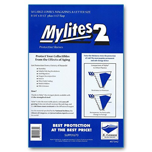 """Mylites 2 Large Comics, Magazines & Letters 2-Mil Mylar Sleeves 8-3/4"""" x 11-1/2"""" - Pack of 50!"""
