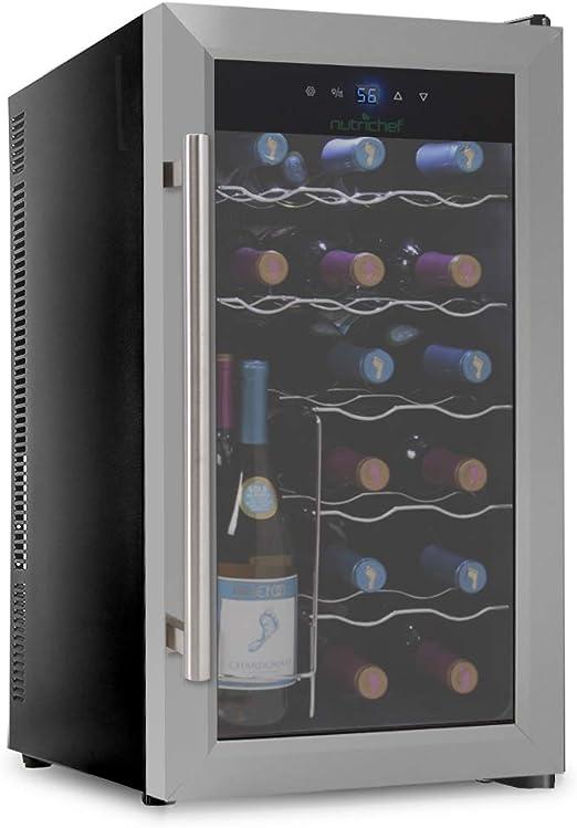 12 Bottle LHONE Mini Wine Cooler Fridge Freestanding Refrigerator Chiller Counter Top Wine Cellar with Digital Temperature Display Quiet Operation Fridge Black