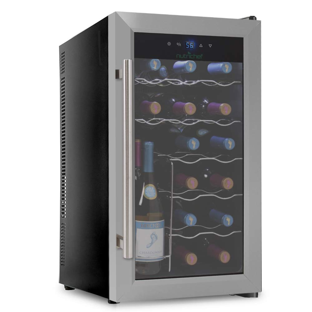 NutriChef PKTEWC18 18 Bottle Thermoelectric Wine Cooler / Chiller | Counter Top Red And White Wine Cellar | FreeStanding Refrigerator, Quiet Operation Fridge | Stainless Steel