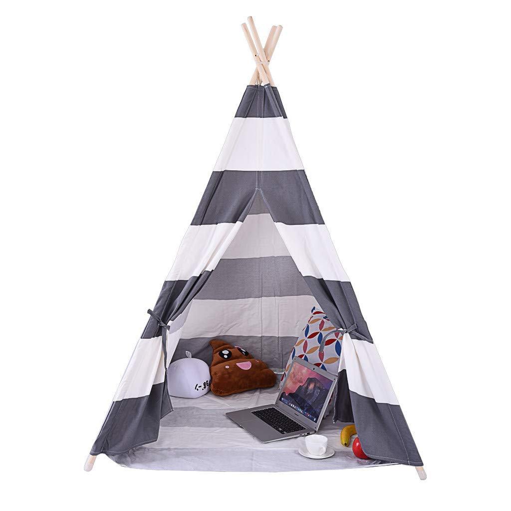 Teepee Tent for Kids Foldable Children Play Tent for Girl and Boy, Children Canvas Tent Tent Indoor Outdoor TentIndian Tent - Have Fun, Encourage Social Interaction (14xx93x11cm/5.5x36.6x4.3in, Gray)