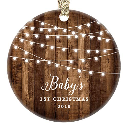 Rustic Baby's First Christmas Ornament 2019 First Year Little Sister New Baby In Family Daughter 1st Xmas Dated Farmhouse Collectible Present 3